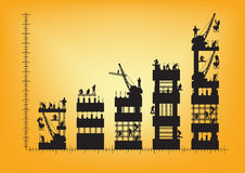 Vectorbouwvakkersilhouet op het werk Stock Afbeelding