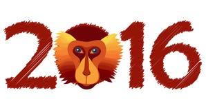 Vectorbrandaap, symbool van Nieuwjaar 2016 Royalty-vrije Stock Foto's