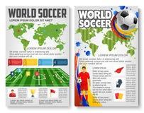 Vectorbrochure voor de voetbalspel van het wereldvoetbal Stock Foto's