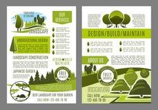 Vectorbrochure voor het groene ontwerp van landschapseco Royalty-vrije Stock Foto