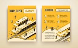 Vectorbrochuremalplaatje voor treindepot, spoorweg royalty-vrije illustratie