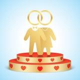 Vectorbruid en bruidegom die zich op een gouden stadium bevinden vector illustratie