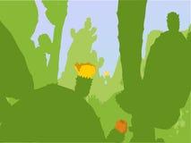 Vectorcactusinstallaties met bloesems stock illustratie