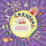 Vectorcarnaval-uitnodigingsontwerp Stock Fotografie