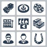 Vectorcasino en het gokken geplaatste pictogrammen vector illustratie