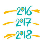 Vectorcijfers 2016, 2017, 2018 Royalty-vrije Stock Foto's