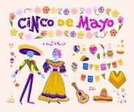 Vectorcincode Mayo reeks de traditionele elementen van Mexico, symbolen & skeletkarakters in vlakke hand getrokken die stijl op w