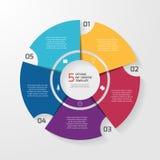 Vectorcirkel infographic malplaatje voor grafieken, grafieken, diagrammen Royalty-vrije Stock Foto's