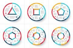 Vectorcirkel infographic met 3, 4, 5, 6, 7 en 8 stappen Royalty-vrije Stock Fotografie
