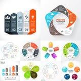 Vectorcirkel infographic reeks Bedrijfsdiagrammen, stock illustratie