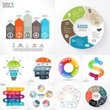 Vectorcirkel infographic reeks Bedrijfsdiagrammen, pijlengrafieken, lineaire presentaties, de grafieken van de ideecyclus Gegeven royalty-vrije illustratie