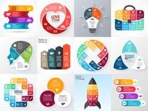 Vectorcirkel infographic reeks Bedrijfsdiagrammen, pijlengrafieken, startembleempresentaties, ideegrafieken Gegevensopties Stock Foto's