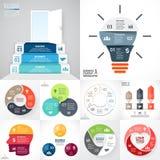Vectorcirkel infographic reeks Bedrijfsdiagrammen, pijlengrafieken, startembleempresentaties, ideegrafieken Gegevensopties stock illustratie