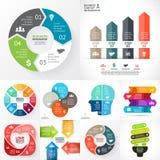 Vectorcirkel infographic reeks Bedrijfsdiagrammen, pijlengrafieken, startembleempresentaties, ideegrafieken Gegevensopties vector illustratie
