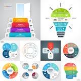 Vectorcirkel infographic reeks De bedrijfsdiagrammen, pijlengrafieken, vertroebelen lineaire presentaties, de grafieken van de id vector illustratie