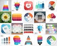 Vectorcirkelinfographics De bedrijfsdiagrammen, pijlengrafieken, vertroebelen lineaire presentaties, de grafieken van de ideecycl Royalty-vrije Stock Afbeelding