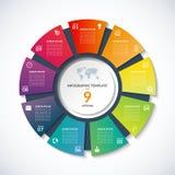 Vectorcirkelmalplaatje voor infographics met 9 opties, stappen, delen Stock Afbeeldingen