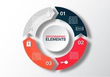 Vectorcirkelpijlen voor infographic Malplaatje voor diagram, grap Royalty-vrije Stock Fotografie