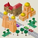 Vectorcityscape in Europese architecturale stijl Reeks isometrische gebouwen, kerk, vestingsmuur met torens, rijweg, banken stock illustratie