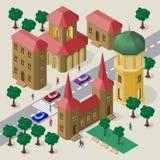 Vectorcityscape in Europese architecturale stijl Reeks isometrische gebouwen, klokketoren, rijweg, banken, bomen, auto's en mense royalty-vrije illustratie