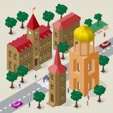 Vectorcityscape in Europese architecturale stijl Reeks isometrische gebouwen, stadhuis, kerk, rijweg, banken, bomen, auto's en stock illustratie