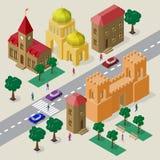 Vectorcityscape in Europese stijl Reeks isometrische gebouwen, kerk, vestingspoort met torens, rijweg, banken, bomen, auto's royalty-vrije illustratie
