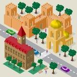 Vectorcityscape in Europese stijl Reeks isometrische gebouwen, stadhuis, kerk, vestingsmuur met torens, rijweg, banken, vector illustratie