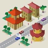 Vectorcityscape in stijl de Oost- van Azi? Reeks isometrische Aziatische gebouwen, pagode, rijweg, banken, bomen, auto's en mense vector illustratie