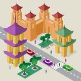 Vectorcityscape in stijl de Oost- van Azi? Reeks isometrische gebouwen, pagode, vestingsmuur met torens, rijweg, banken, bomen, a vector illustratie