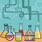 Vectorconcept - chemie en wetenschapsonderzoek Stock Afbeeldingen