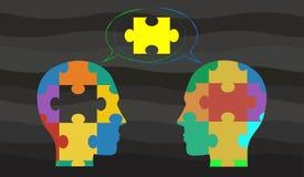 Vectorconcept die op het idee van brainstorming/bespreking wijzen vector illustratie