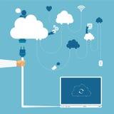 Vectorconcept draadloos wolkennetwerk en verdeelde gegevensverwerking Stock Afbeelding