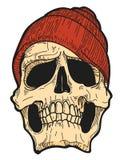 Vectorconcept Hand Getrokken Schedel met Red Hat Stock Fotografie