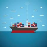 Vectorconcept het overzeese de vracht van de rivieroceaan en verschepen vector illustratie