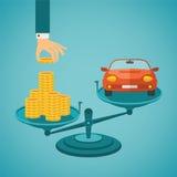 Vectorconcept investering in individueel vervoer vector illustratie