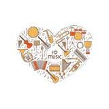 Vectorconcept met het kleurrijke die pictogram van muziekinstrumenten in hartvorm wordt geplaatst Dunne lijnillustratie Correct s Royalty-vrije Stock Foto's