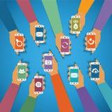 Vectorconcept moderne mobiele draadloze technolohy Stock Afbeeldingen