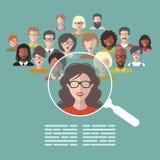 Vectorconcept personeelsbeheer, deskundigen onderzoek, hoofdjagersbaan met vergrootglas stock illustratie