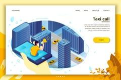 Vectorconceptenillustratie, mens die taxicabine halen royalty-vrije illustratie