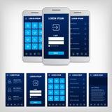 Vectorconceptie van blauw mobiel gebruikersinterface Stock Fotografie