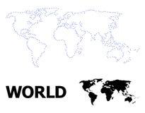 Vectorcontour Gestippelde Kaart van Wereld met Naam vector illustratie