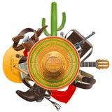 Vectorcowboy Concept met Sombrero Royalty-vrije Stock Afbeelding