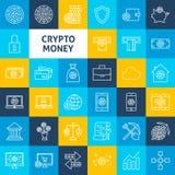 Vectorcryptocurrency-Lijnpictogrammen Stock Afbeelding