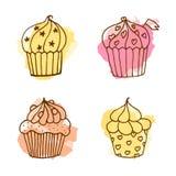 Vectorcupcakeillustratie De reeks van 4 overhandigt getrokken cupcakes met kleurrijke plonsen Stock Afbeelding