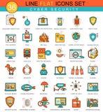 Vectorcyber-het pictogramreeks van de veiligheids vlakke lijn Modern elegant stijlontwerp voor Web Royalty-vrije Stock Afbeelding