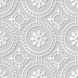 Vectordamast naadloze 3D document achtergrond 265 van het kunstpatroon Rond Dot Cross Flower Stock Foto's
