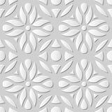Vectordamast naadloze 3D document achtergrond 189 van het kunstpatroon Ronde Bloemkromme Royalty-vrije Stock Afbeeldingen