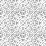 Vectordamast naadloze 3D document achtergrond 237 van het kunstpatroon Ronde Krommecaleidoscoop Royalty-vrije Stock Afbeelding