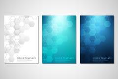 Vectordekking of brochure voor geneeskunde, wetenschap en digitale technologie Geometrische abstracte achtergrond met zeshoeken royalty-vrije illustratie
