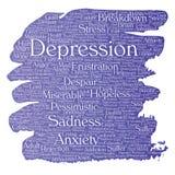 Vectordepressie of de geestelijke emotionele wolk van het wanordewoord vector illustratie
